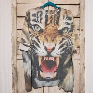 Vintage All Over Tiger Face 90s Tee XXL